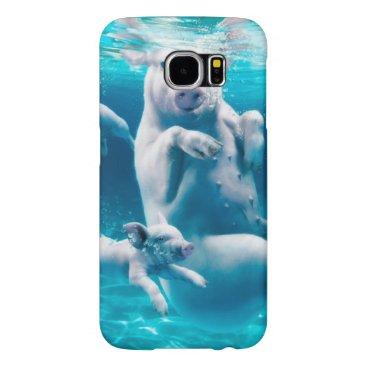 Beach Themed Pig beach - swimming pigs - funny pig samsung galaxy s6 case