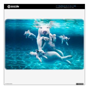 Beach Themed Pig beach - swimming pigs - funny pig skin for MacBook air