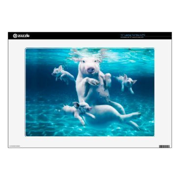 Beach Themed Pig beach - swimming pigs - funny pig skins for laptops