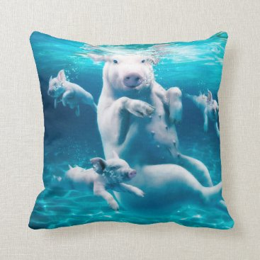 Beach Themed Pig beach - swimming pigs - funny pig throw pillow