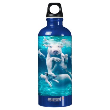 Beach Themed Pig beach - swimming pigs - funny pig water bottle