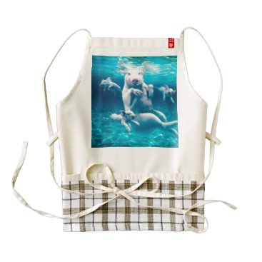 Beach Themed Pig beach - swimming pigs - funny pig zazzle HEART apron