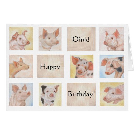 pig birthday card  zazzle, Birthday card