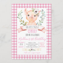 pig birthday shower invitaiton invitation