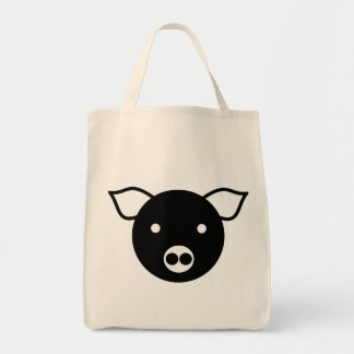 PIG (BLACK AND WHITE) Grocery Tote Bag