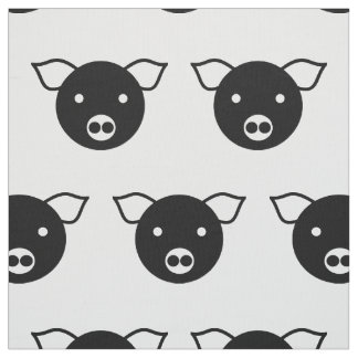 PIG (BLACK AND WHITE) Pima Cotton Fabric