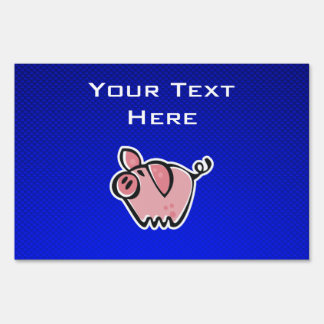 Pig; Blue Lawn Sign