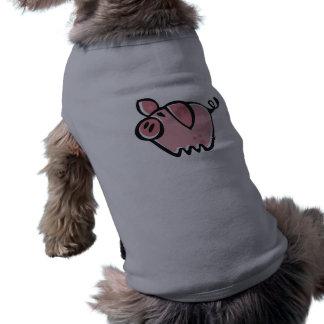 Pig; Brushed metal look Dog T-shirt
