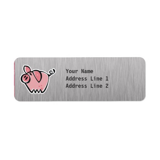 Pig; Brushed metal look Custom Return Address Labels