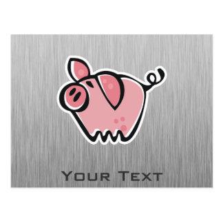 Pig; Brushed metal look Postcard