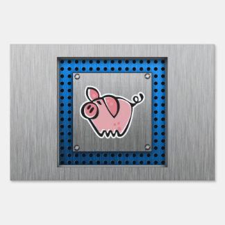 Pig; Brushed metal look Yard Sign