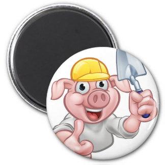 Pig Builder Cartoon Character Magnet