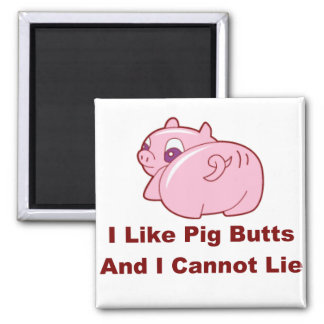 Pig Butts 2 Inch Square Magnet