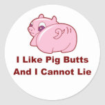 Pig Butts Classic Round Sticker