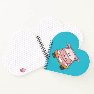 Pig cartoon car notebook
