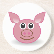 Pig Cartoon Face Drink Coaster