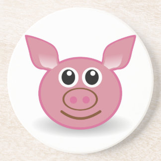 Pig Cartoon Face Drink Coaster