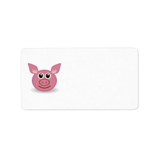 Pig Cartoon Face Custom Address Label