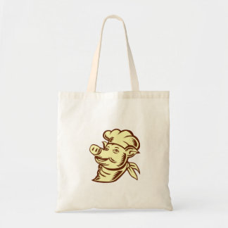 Pig Chef Cook Head Looking Up Woodcut Tote Bag