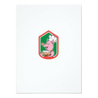 Pig Chef Cook Holding Bowl Shield Cartoon Custom Invitations