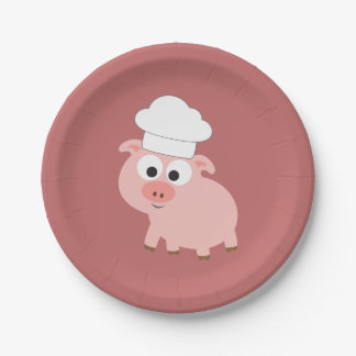 Pig Chef Paper Plate
