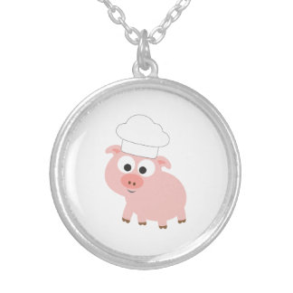 Pig Chef Silver Plated Necklace