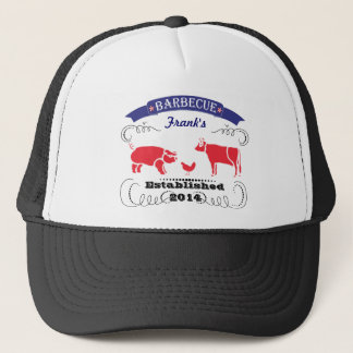 Pig, Chicken and Cow Vintage Barbeque Trucker Hat