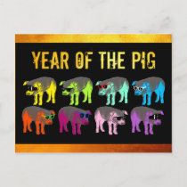 Pig Chinese Year Zodiac Birthday Pop Postcard