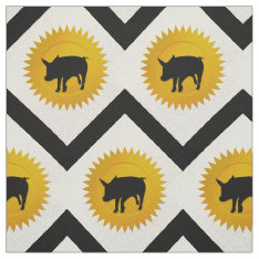 Pig Chinese Zodiac | White, Gold And Black Fabric at Zazzle