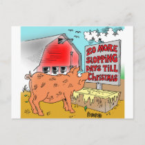 PIG / CHRISTMAS CARTOON GIFTWARE HOLIDAY POSTCARD