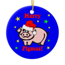 Pig Christmas Ceramic Ornament