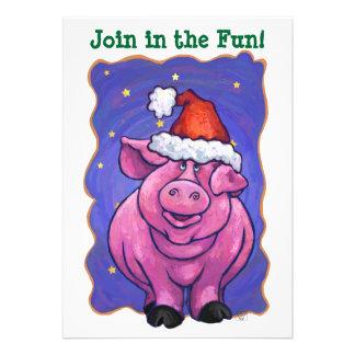 Pig Christmas Custom Invites