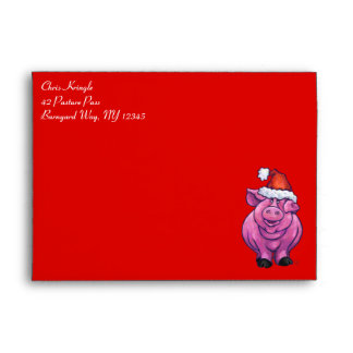 Pig Christmas On Red Envelope