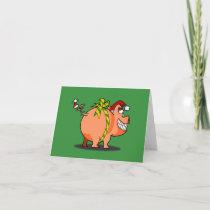 Pig Christmas Ribbon Greeting Card
