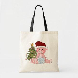 Pig & Christmas Tree Budget Tote Bag