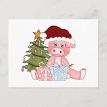 Pig & Christmas Tree Holiday Postcard