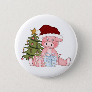 Pig & Christmas Tree Pinback Button