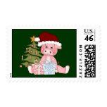 Pig & Christmas Tree Postage Stamp