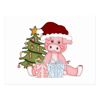 Pig & Christmas Tree Post Card