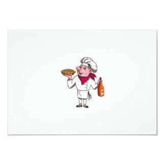 Pig Cook Pie Wine Bottle Cartoon Card