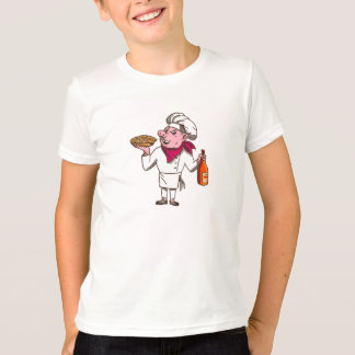 Pig Cook Pie Wine Bottle Cartoon T-Shirt