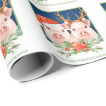 Pig Couple Cute Christmas Santa and Reindeer Wrapping Paper