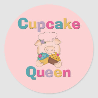 Pig Cupcake Queen T-shirts and Gifts Classic Round Sticker