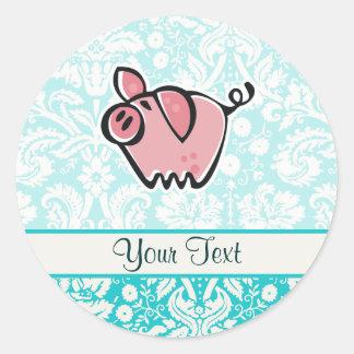 Pig; Cute Classic Round Sticker