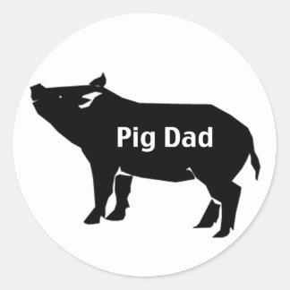 Pig Dad Classic Round Sticker