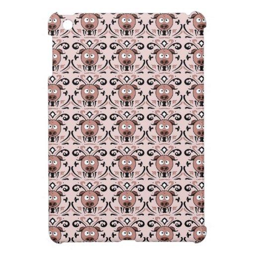 Pig Damask Pattern iPad Mini Cover