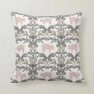 pig damask throw pillow