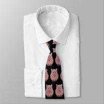 Pig Design Black Neck Tie