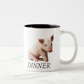 pig, DINNER Two-Tone Coffee Mug