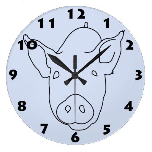 PIG DRAWING DESIGN Wall Clock | Zazzle